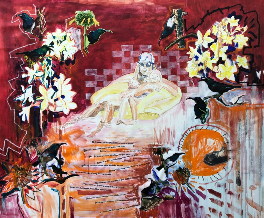 5 Milk and Honey, 180 x 200 cm Acrylic, Oil stick, oil pastel, collage on canvas