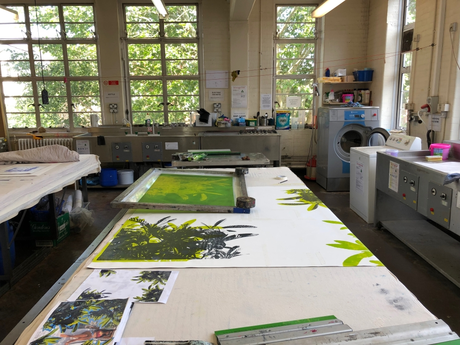 Silkscreen printing on such a large scale Dye Room Room
